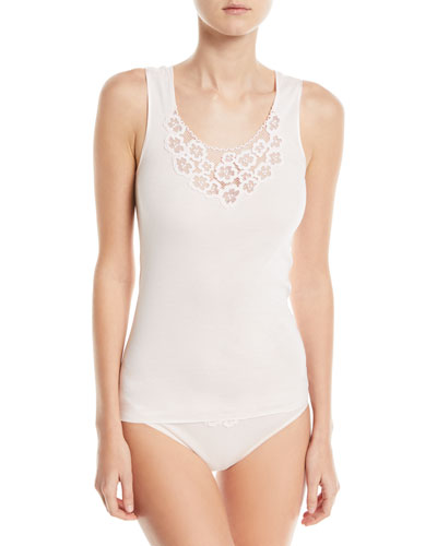 Summer Seamless Cotton Layering Tank with Lace Detail and Matching Items