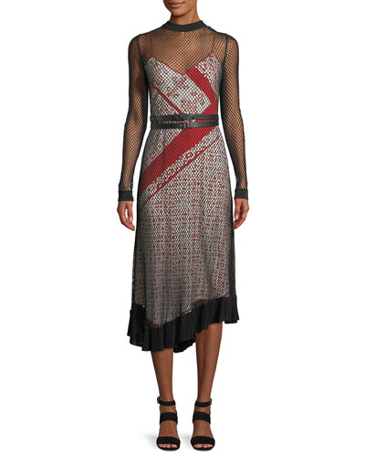 Kleber Fishnet Long-Sleeve Bandana-Print Midi Dress and Matching Items