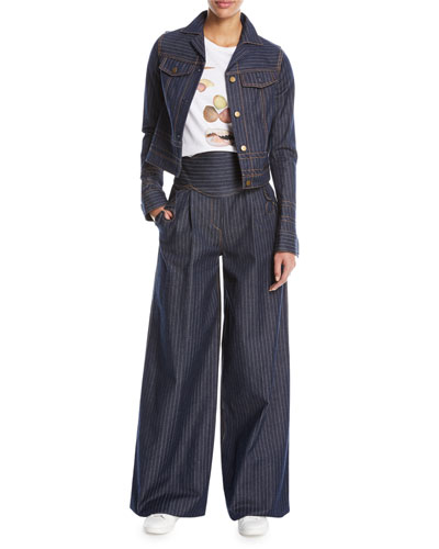 Pinstriped Denim Jacket and Matching Items