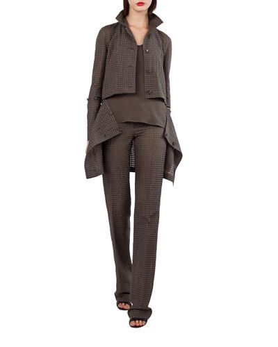 Button-Front Ajouré Silk Cotton Jacket with Detachable Hem and Matching Items
