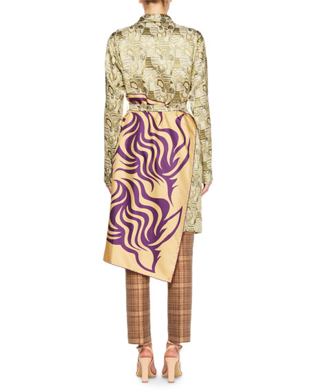 Racun Jacquard Tie-Waist Coat with Deco-Print Panel