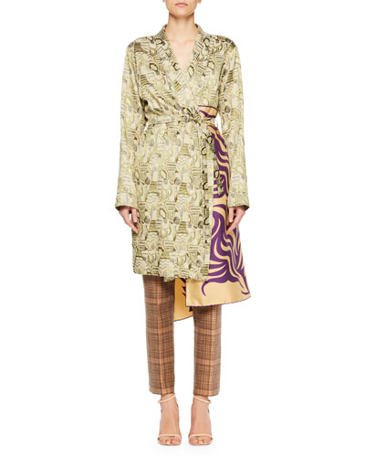 Racun Jacquard Tie-Waist Coat with Deco-Print Panel and Matching Items