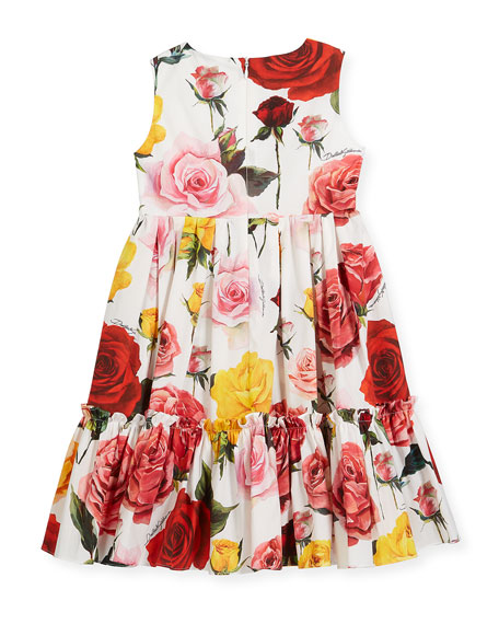 Sleeveless Tiered Multi-Rose Dress, Size 4-6