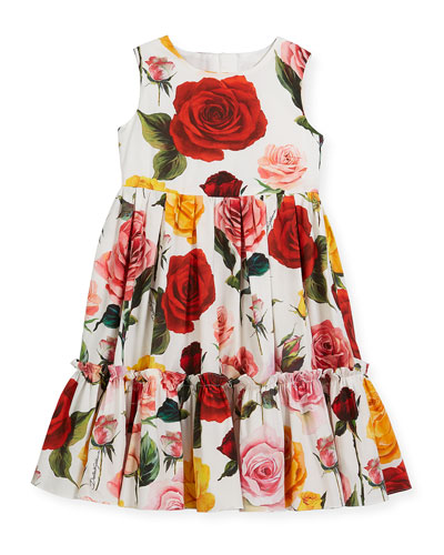 Sleeveless Tiered Multi-Rose Dress, Size 4-6  and Matching Items