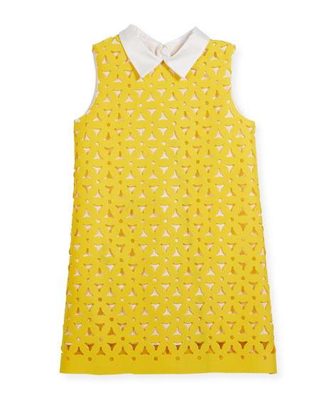 Perforated Neoprene A-Line Collared Dress, Size 4-8
