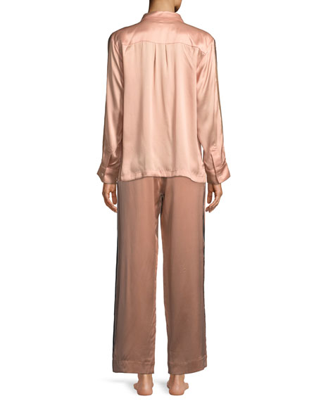Bold-Stripe Long-Sleeve Silk Pajama Top
