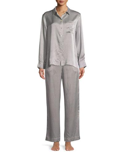 Geometric-Print Silk Long-Sleeve Pajama Top and Matching Items