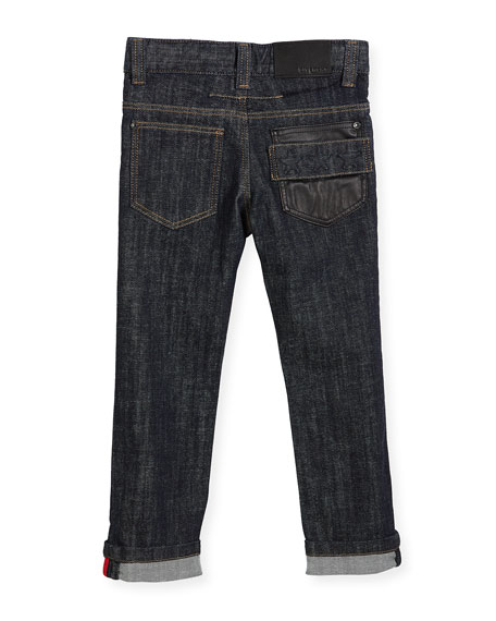Denim Trousers w/ Leather Trim, Size 4-5