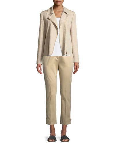 Zip-Front Linen Jacket and Matching Items
