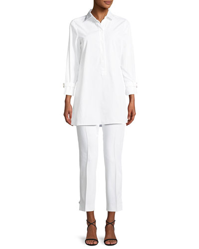 Side-Slit Poplin Tunic Blouse and Matching Items