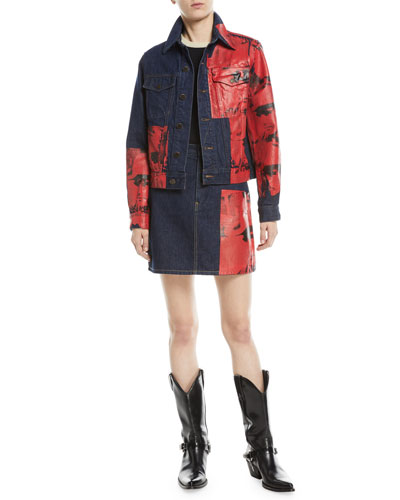 Warhol Button-Front Graphic-Print Denim Jacket and Matching Items