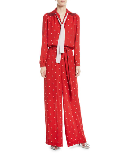 Rosebud-Print Button-Front Pajama Blouse with Contrast Necktie  and Matching Items