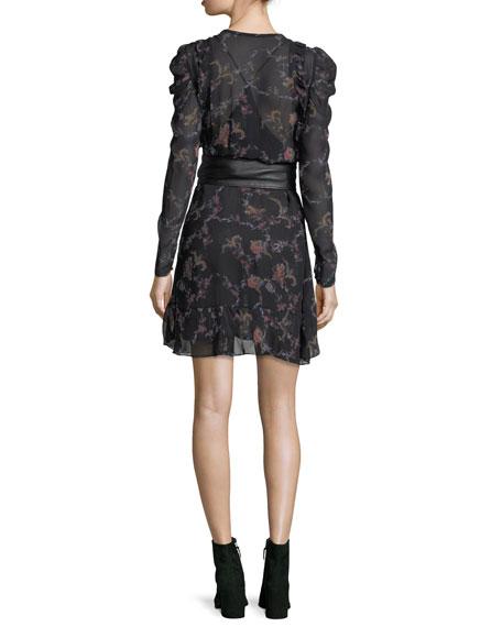 Loxie Floral-Print Chiffon Short Dress