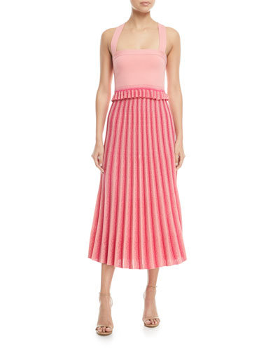 Square-Neck Knit Crop Top with Pleated Ruffle Hem and Matching Items