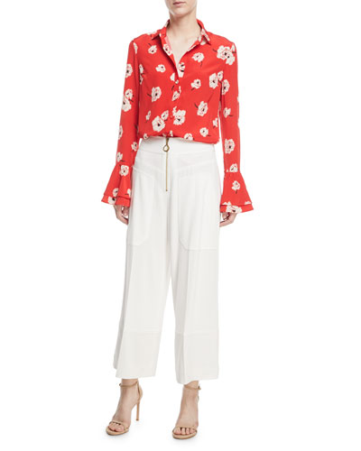 Long-Sleeve Button-Front Floral-Print Silk Shirt w/ Ruffle Cuff and Matching Items