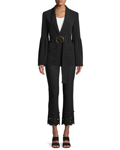 Shawl-Collar One-Button Crepe Blazer with Belt and Matching Items