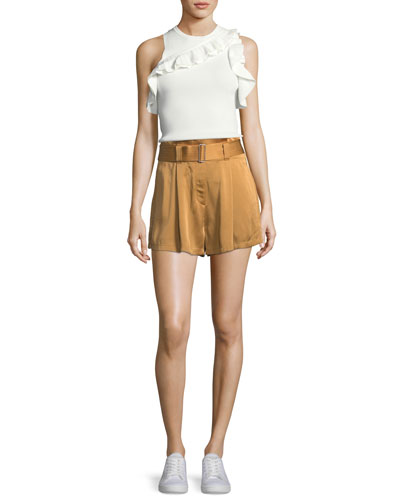 Palmer Sleeveless Rib-Knit Top w/ Ruffled Trim and Matching Items