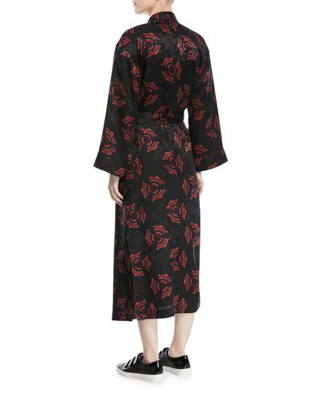 York Printed Silk Robe Jacket