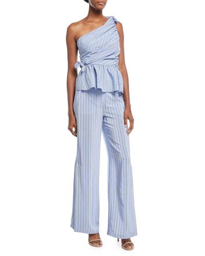 Soraya One-Shoulder Gathered Striped Top and Matching Items