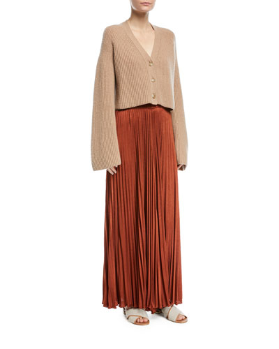 Cabot Button-Front Bell-Sleeve Cashmere Cardigan and Matching Items