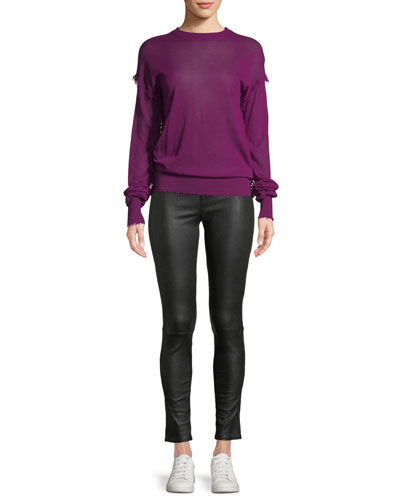 Crewneck Long-Sleeve Cashmere Fray Sweater and Matching Items