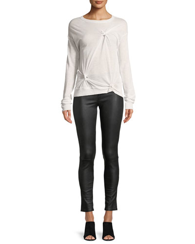 Knotted Crewneck Long-Sleeve Cashmere Sweater and Matching Items