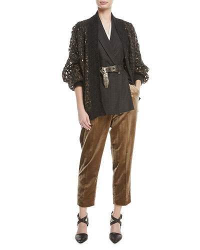 V-Neck Button-Front Mohair and Sequin Net Cardigan and Matching Items