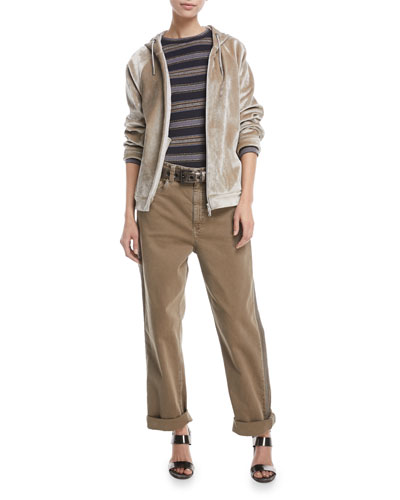 Crewneck Long-Sleeve Striped Wool-Cashmere Sweater and Matching Items