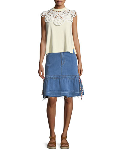 Eyelet-Neck Sleeveless Cotton Tee and Matching Items