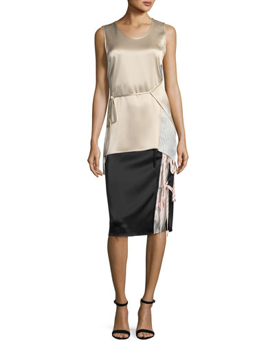 Sleeveless Heavy Drape Satin Wrap Top w/ Striped Combo and Matching Items