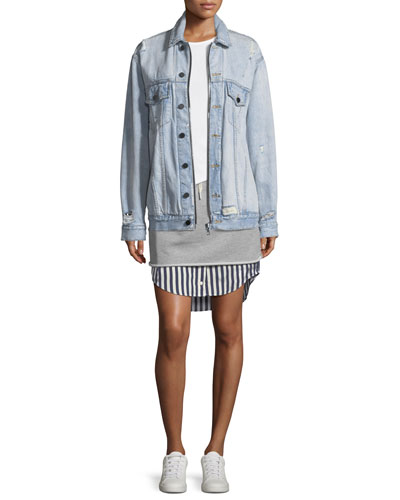 Daze Zip Button-Front Distressed Denim Jacket and Matching Items