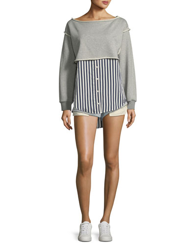 Boat-Neck Long-Sleeve Terry Stripe Combo Pullover and Matching Items