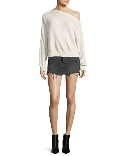 One-Shoulder Rib-Knit Pullover Sweater with Snap Details and Matching Items