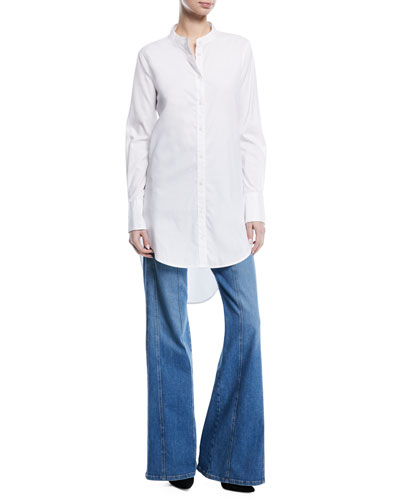 Ellis Button-Front Long Poplin Tunic and Matching Items