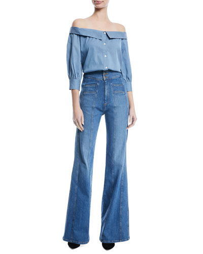 Britta Off-the-Shoulder Button-Front Chambray Top and Matching Items
