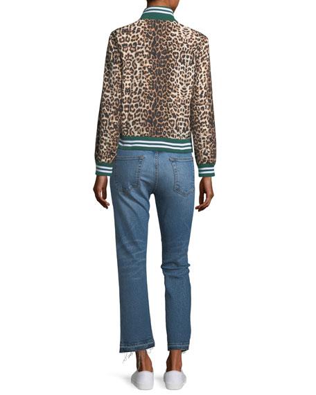 Anya Leopard-Print Anorak Jacket with Striped Rib-Knit Trim