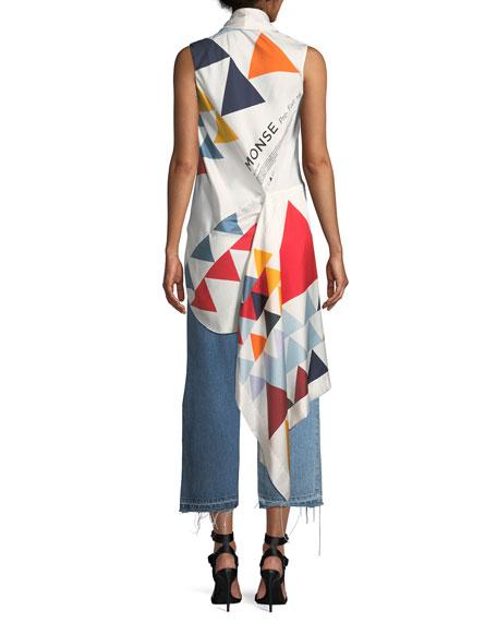 Sleeveless Scarf Triangle-Print Silk Blouse