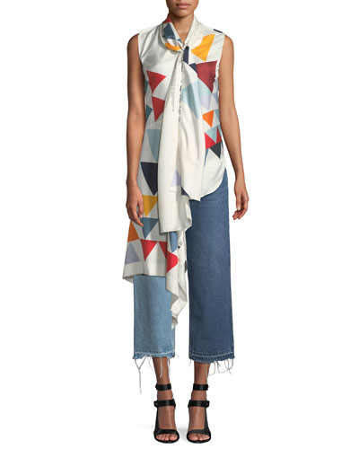 Sleeveless Scarf Triangle-Print Silk Blouse and Matching Items