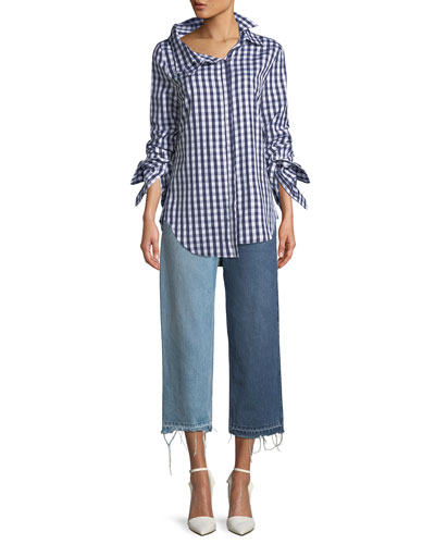 Gingham Double-Collar Cotton Blouse  and Matching Items