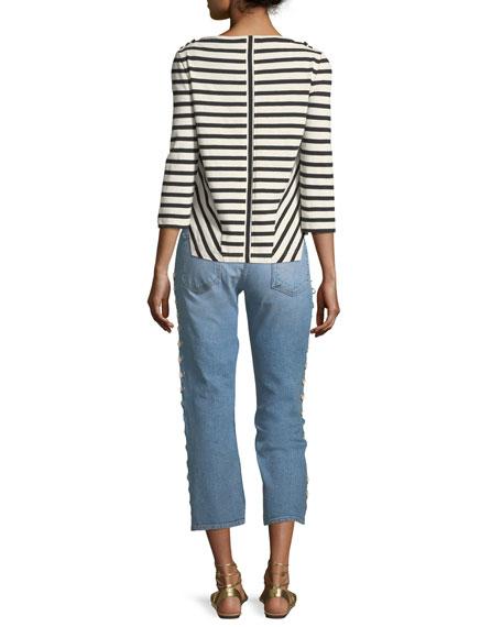 Brees Crewneck Long-Sleeve Striped Linen Top