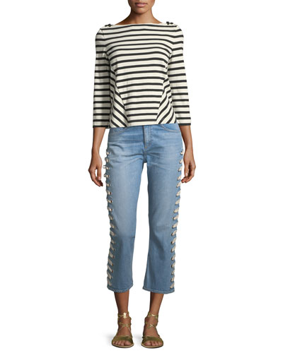 Brees Crewneck Long-Sleeve Striped Linen Top and Matching Items