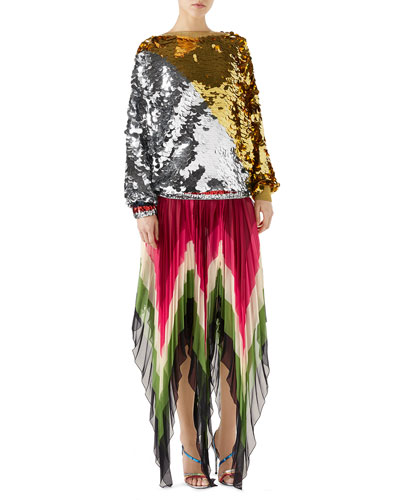 Long-Sleeve Lurex® Paillette Embroidered Top and Matching Items