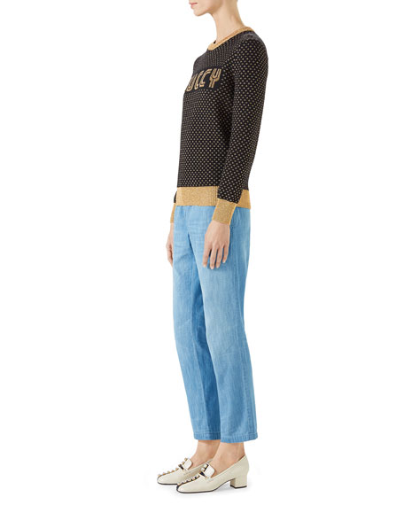 Long-Sleeve Crewneck Lurex® Wool Guccy SEGA Sweater