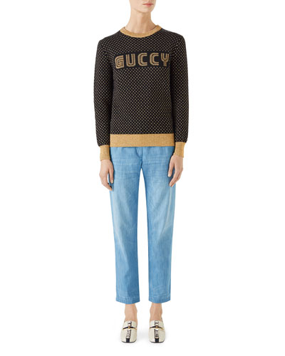 Long-Sleeve Crewneck Lurex® Wool Guccy Sweater and Matching Items