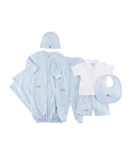 Little Railroad Striped Convertible Pima Gown, Size Newborn-S