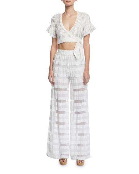 Knit Combo Side-Tie Crop Top