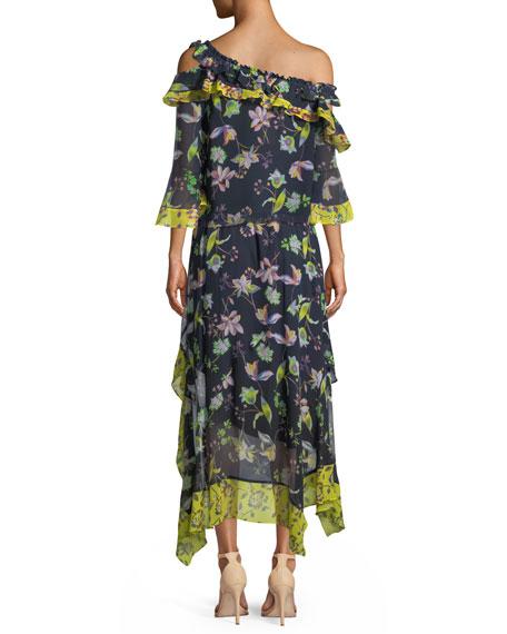Violet Garden-Print Off-the-Shoulder Silk Top