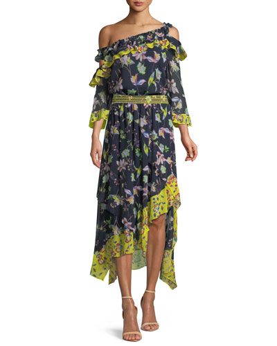 Violet Garden-Print Off-the-Shoulder Silk Top and Matching Items