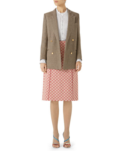 Double-Breasted Micro-Houndstooth Linen Jacket and Matching Items