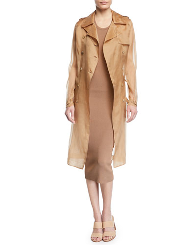 Damiana Double-Breasted Silk Organza Trench Coat and Matching Items